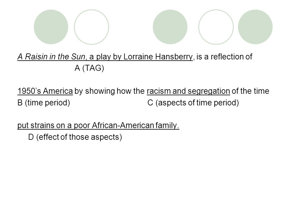 a raisin in the sun 6 essay A raisin in the sun study guide contains a biography of lorraine hansberry, literature essays, quiz questions, major themes, characters, and a full summary and analysis.