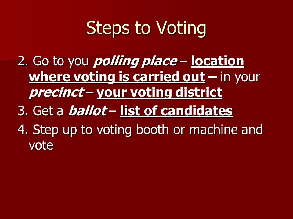 Steps to Voting 2.