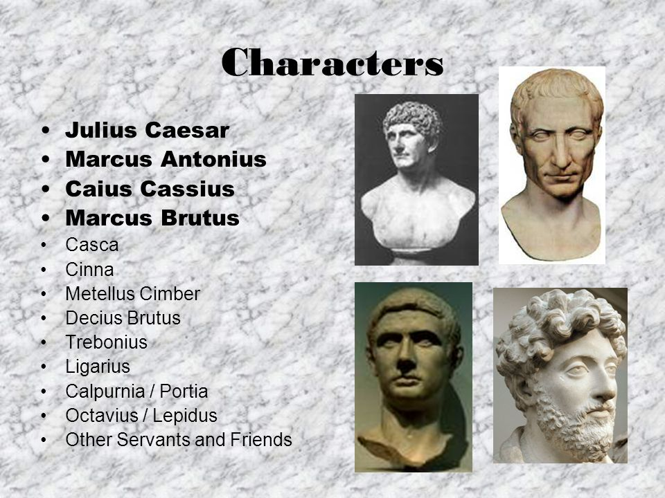 the different personas of julius caesar and marcus brutus Julius caesar study guide does marcus brutus like caesar he intends to write letters in different handwriting and deliver them to brutus that way.