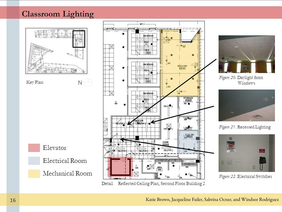 classroom lighting elevator electrical room mechanical room key plan detail  figure 20