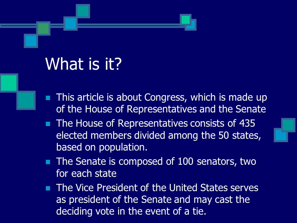 This article is about Congress, which is made up of the House of Representatives and the Senate The House of Representatives consists of 435 elected members divided among the 50 states, based on population.