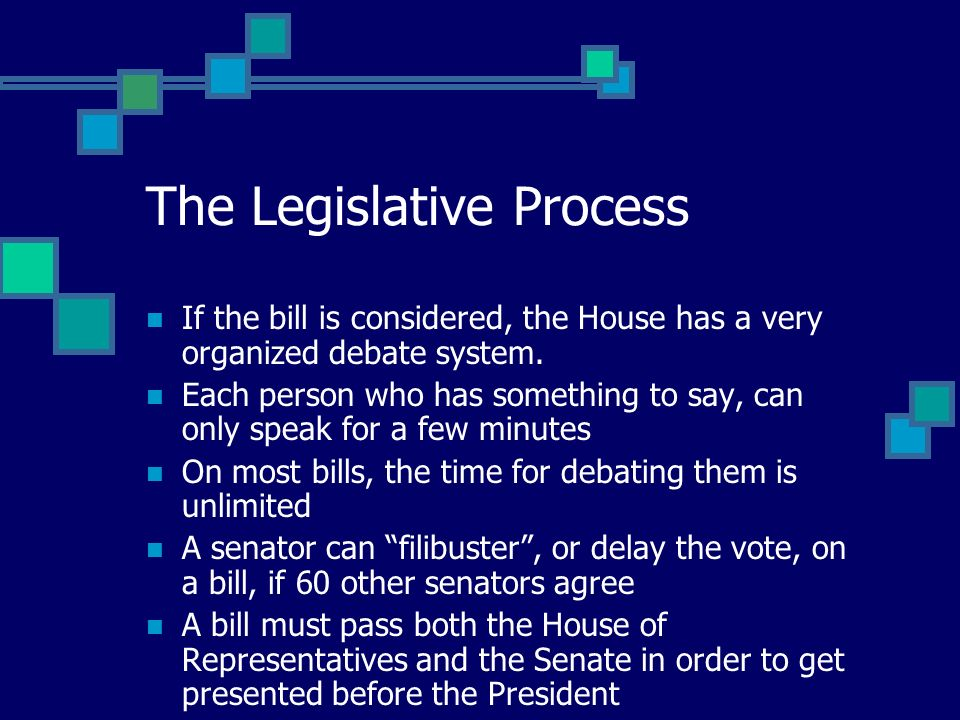 The Legislative Process If the bill is considered, the House has a very organized debate system.