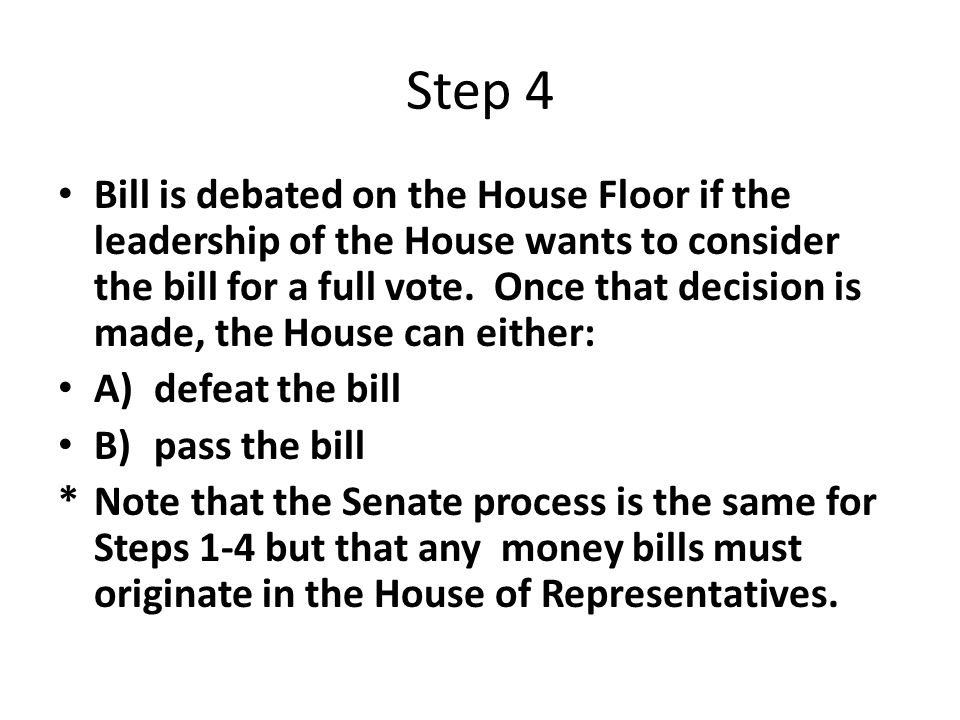 Step 4 Bill is debated on the House Floor if the leadership of the House wants to consider the bill for a full vote.