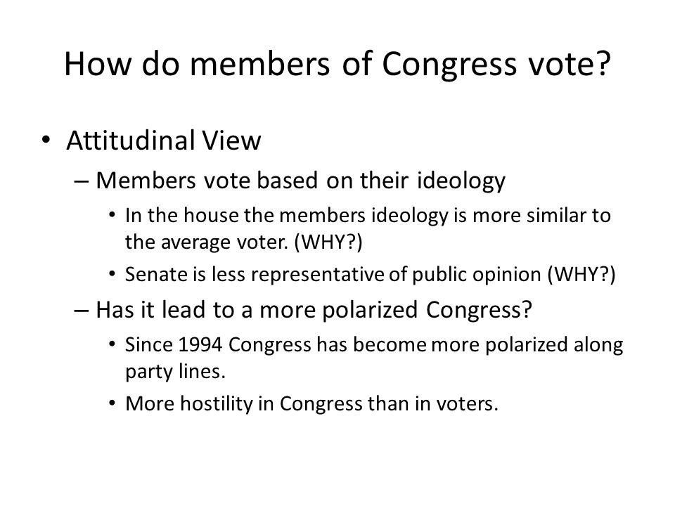 How do members of Congress vote.