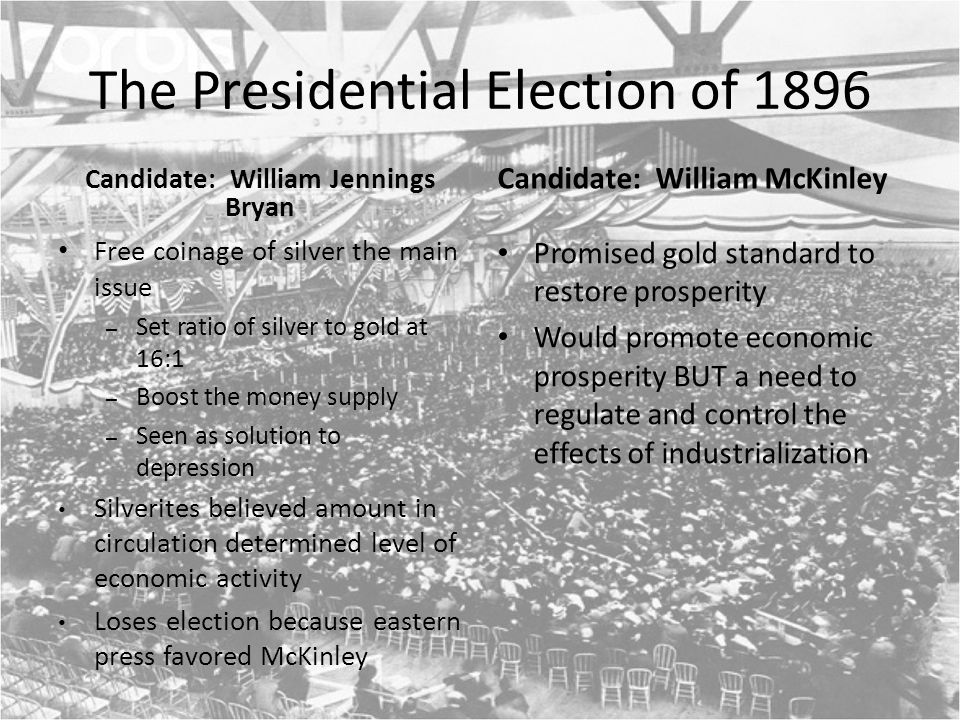 The Presidential Election of 1896 Candidate: William Jennings Bryan Free coinage of silver the main issue – Set ratio of silver to gold at 16:1 – Boost the money supply – Seen as solution to depression Silverites believed amount in circulation determined level of economic activity Loses election because eastern press favored McKinley Candidate: William McKinley Promised gold standard to restore prosperity Would promote economic prosperity BUT a need to regulate and control the effects of industrialization