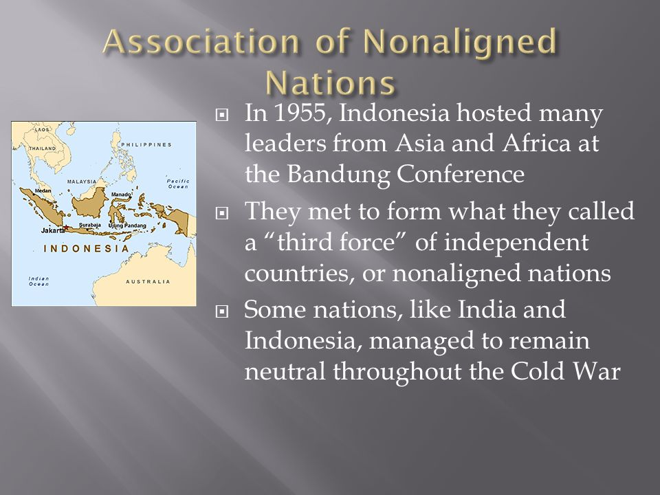  In 1955, Indonesia hosted many leaders from Asia and Africa at the Bandung Conference  They met to form what they called a third force of independent countries, or nonaligned nations  Some nations, like India and Indonesia, managed to remain neutral throughout the Cold War