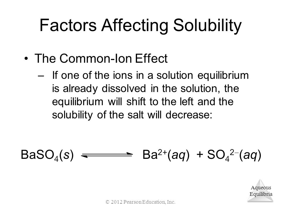 Aqueous Equilibria Factors Affecting Solubility The Common-Ion Effect –If one of the ions in a solution equilibrium is already dissolved in the solution, the equilibrium will shift to the left and the solubility of the salt will decrease: BaSO 4 (s)Ba 2+ (aq) + SO 4 2  (aq) © 2012 Pearson Education, Inc.