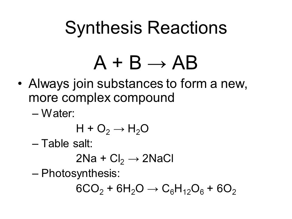 DAILY QUESTION October 29 What is the general form for synthesis – Worksheet 2 Synthesis Reactions