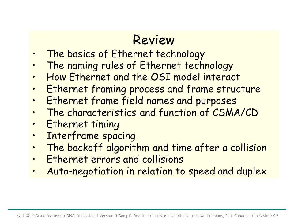 Oct-03 ©Cisco Systems CCNA Semester 1 Version 3 Comp11 Mod6 – St.
