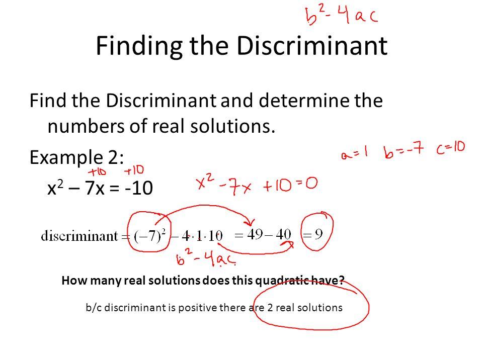 Quadratic Equations Discriminant