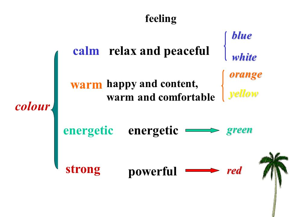 colour feeling calm warm energetic strong blue white orange yellow green red relax and peaceful happy and content, warm and comfortable energetic powerful