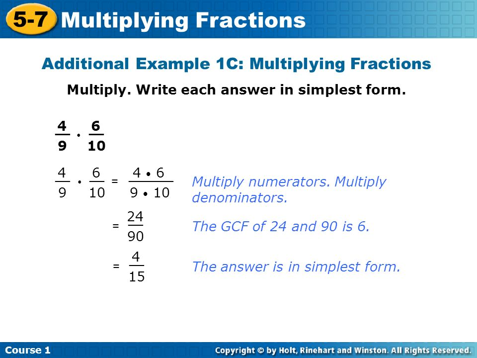 Course Multiplying Fractions 5-7 Multiplying Fractions Course 1 ...