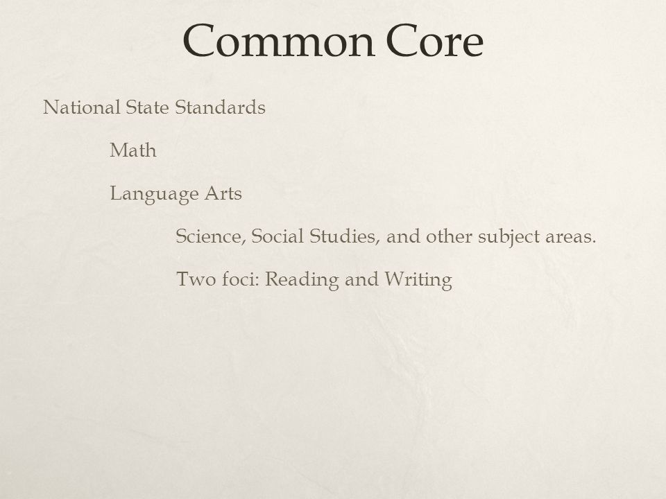 Common Core National State Standards Math Language Arts Science, Social Studies, and other subject areas.