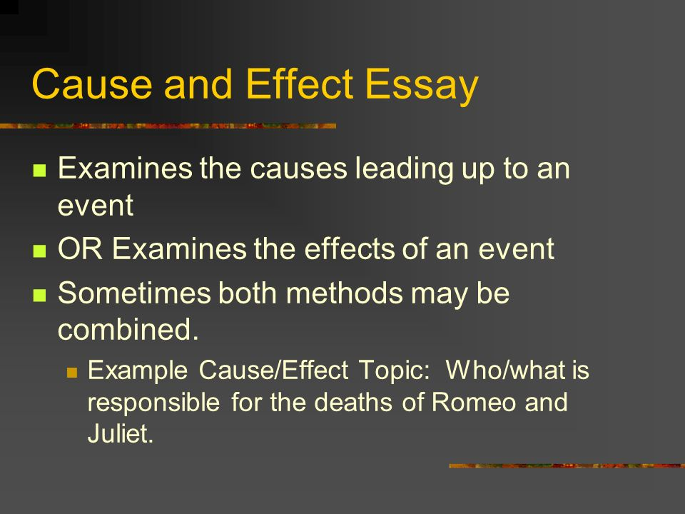 Example Of Cause And Effect Essay