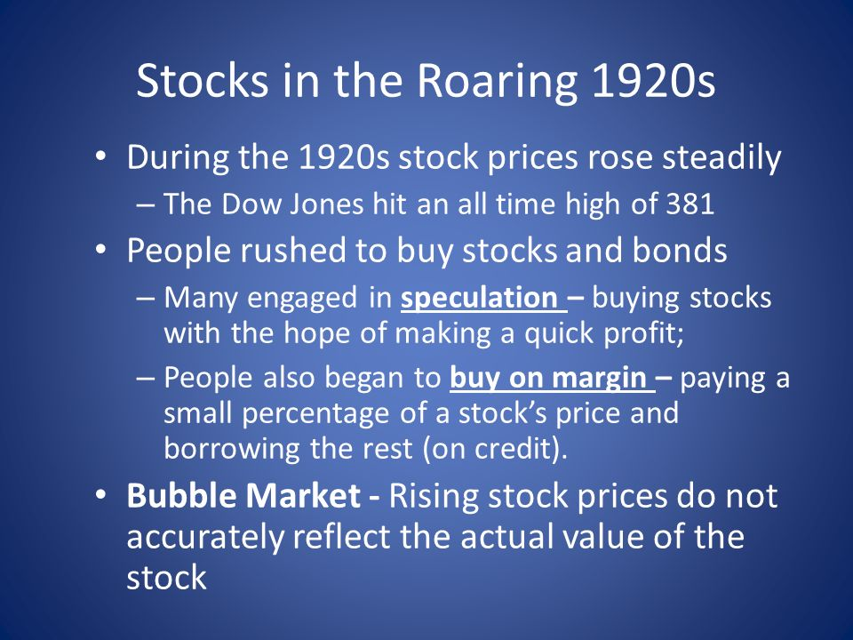 a synthesis report on 1920s project and the stock market crash