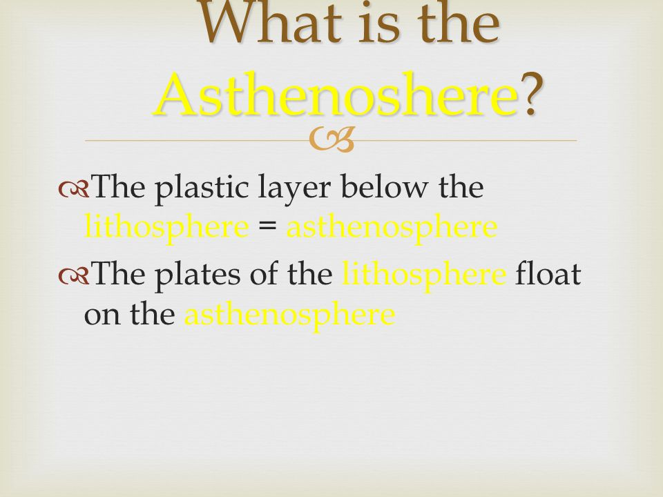  What is the Asthenoshere.