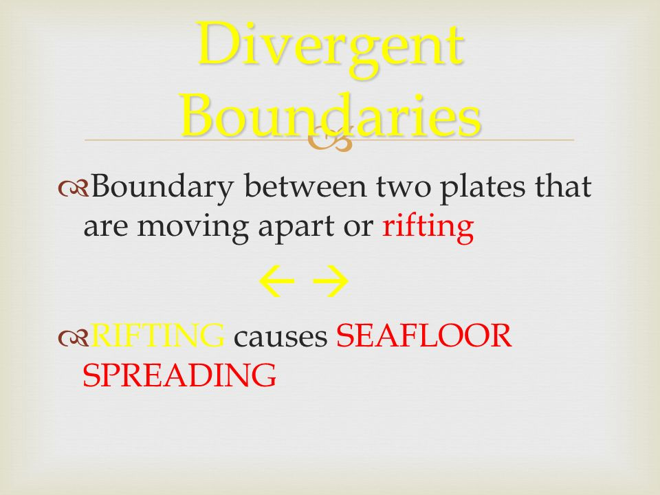  Divergent Boundaries  Boundary between two plates that are moving apart or rifting    RIFTING causes SEAFLOOR SPREADING