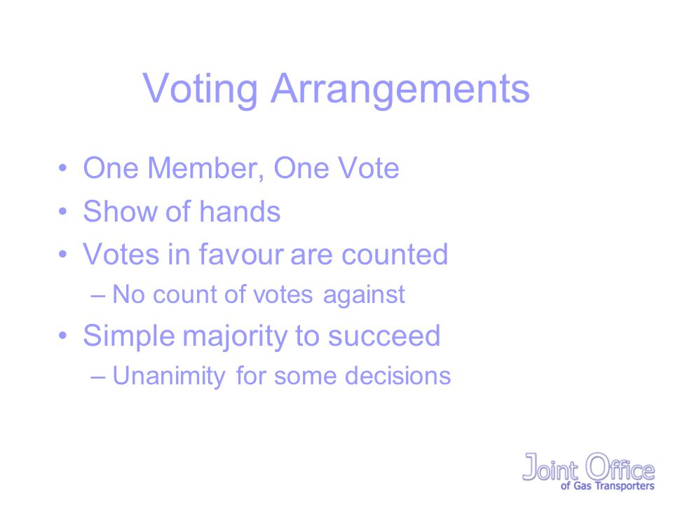 Voting Arrangements One Member, One Vote Show of hands Votes in favour are counted –No count of votes against Simple majority to succeed –Unanimity for some decisions