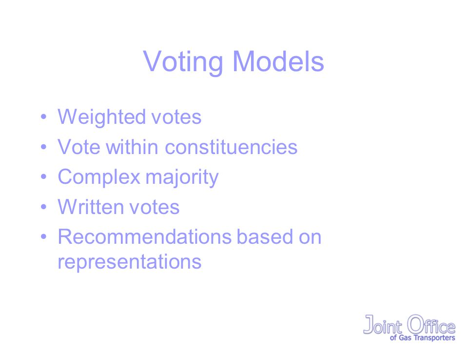 Voting Models Weighted votes Vote within constituencies Complex majority Written votes Recommendations based on representations