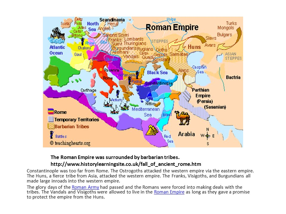 The Roman Empire was surrounded by barbarian tribes.