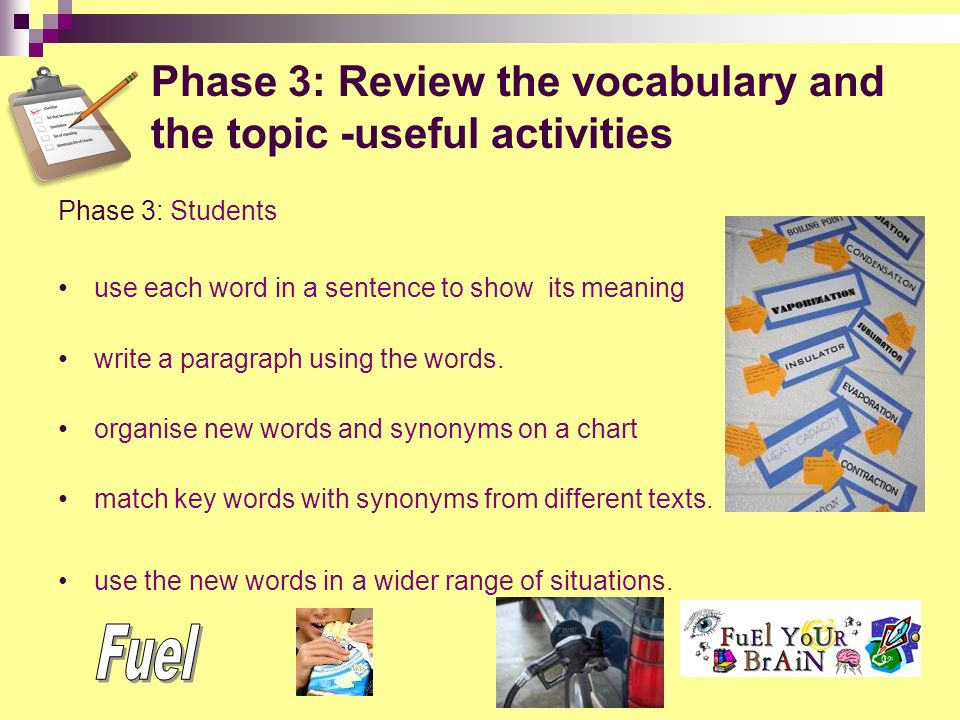 review and consolidate new vocabulary -store new vocabulary in ...