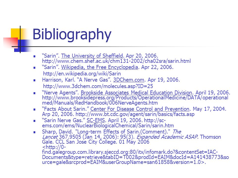 Bibliography Sarin . The University of Sheffield.