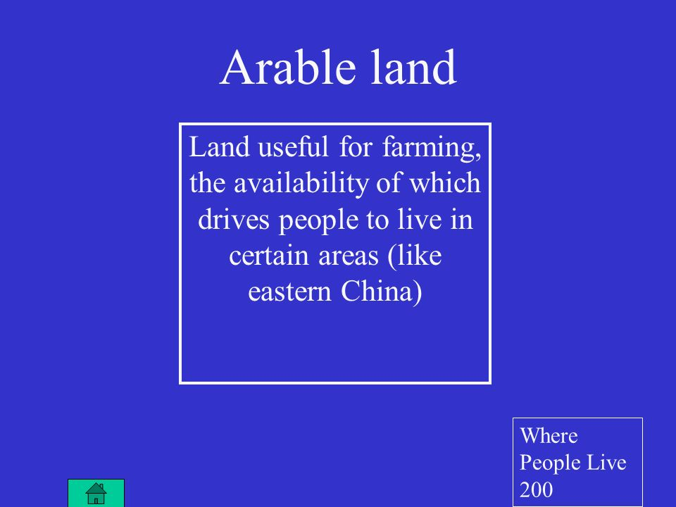 Land useful for farming, the availability of which drives people to live in certain areas (like eastern China) Arable land Where People Live 200