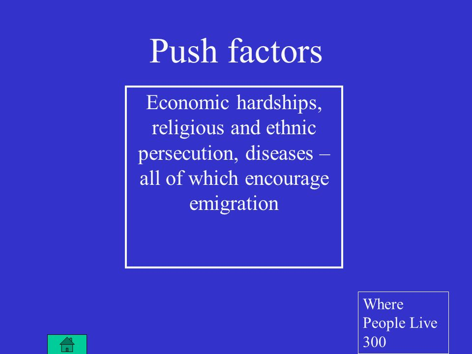 Economic hardships, religious and ethnic persecution, diseases – all of which encourage emigration Push factors Where People Live 300