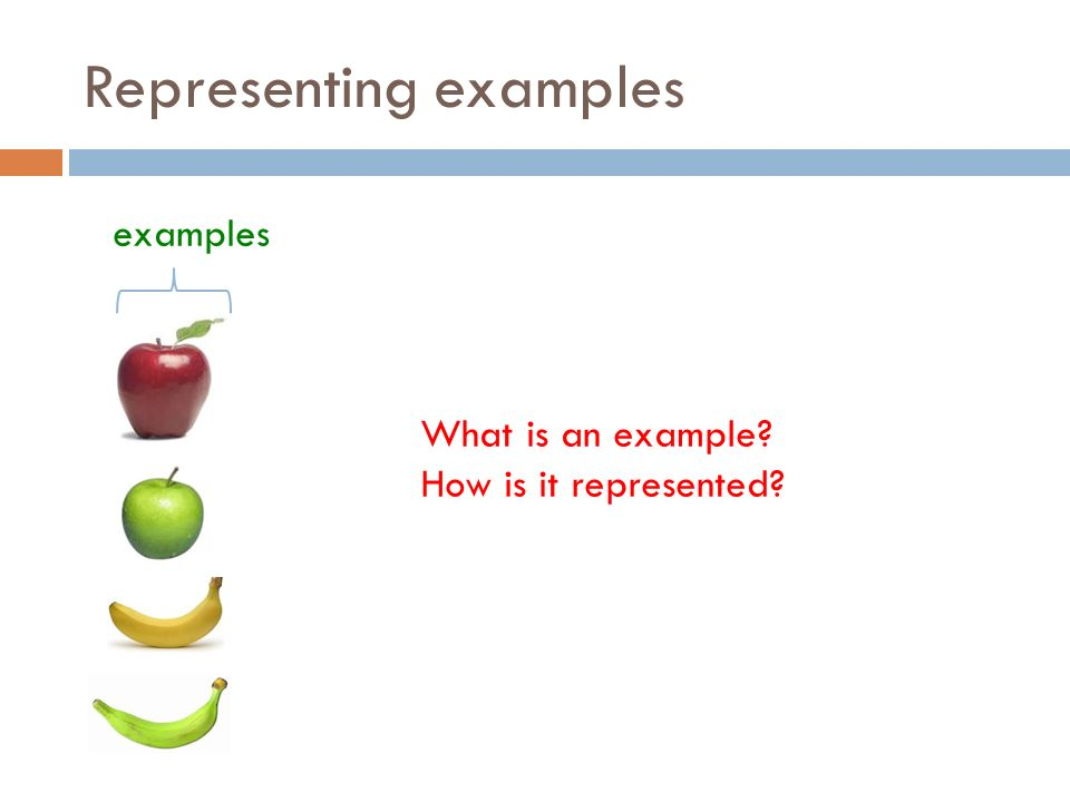 Representing examples examples What is an example How is it represented