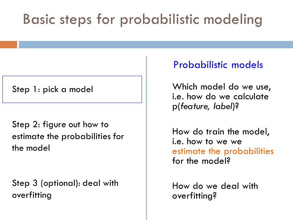 Basic steps for probabilistic modeling Which model do we use, i.e.