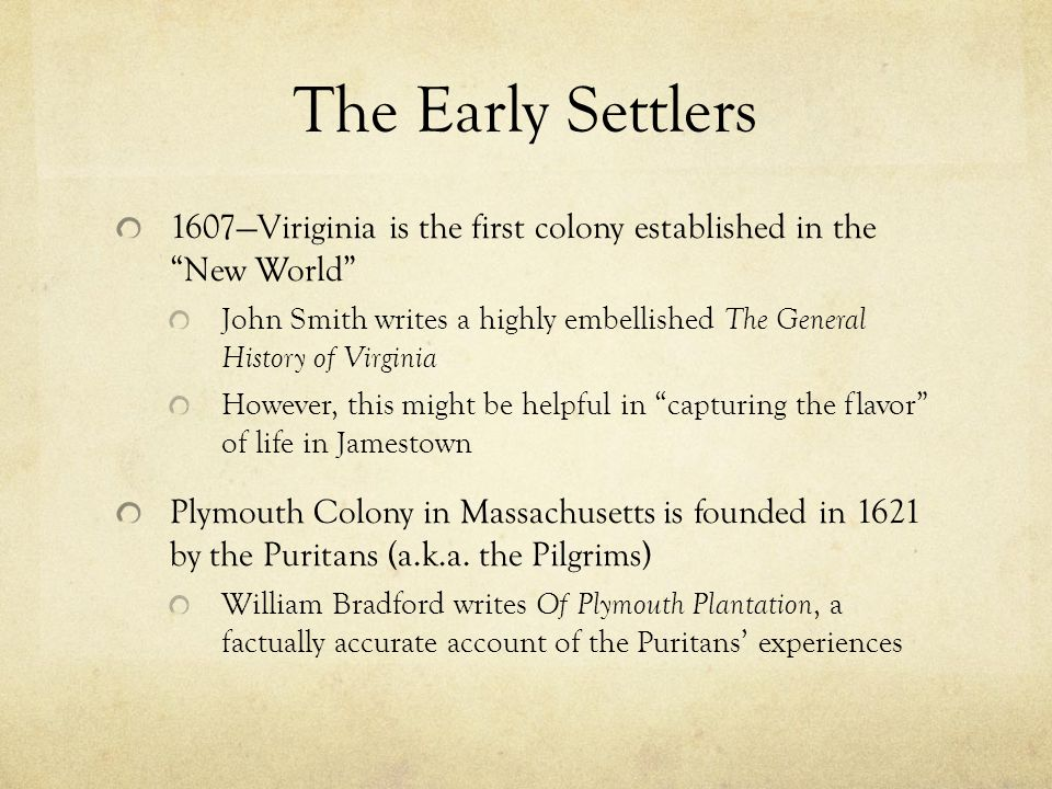 general history of virginia compared to of plymouth plantation