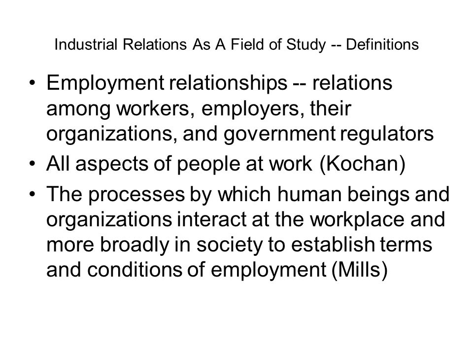 the field of employee relations essay The study if industrial relations like some other fields of study present a complex set of definitions of which none is universally agreed employee relations essay.