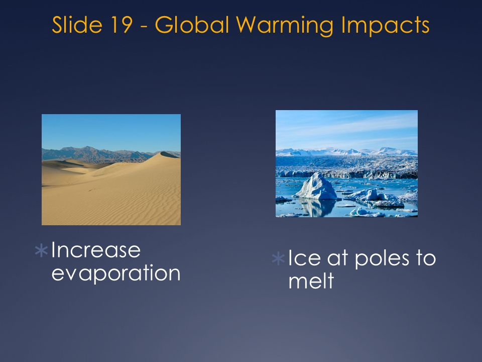 Slide 19 - Global Warming Impacts  Increase evaporation  Ice at poles to melt