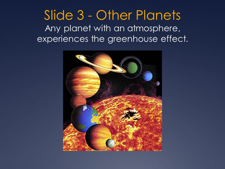 Slide 3 - Other Planets Any planet with an atmosphere, experiences the greenhouse effect.