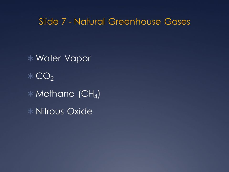 Slide 7 - Natural Greenhouse Gases  Water Vapor  CO 2  Methane (CH 4 )  Nitrous Oxide