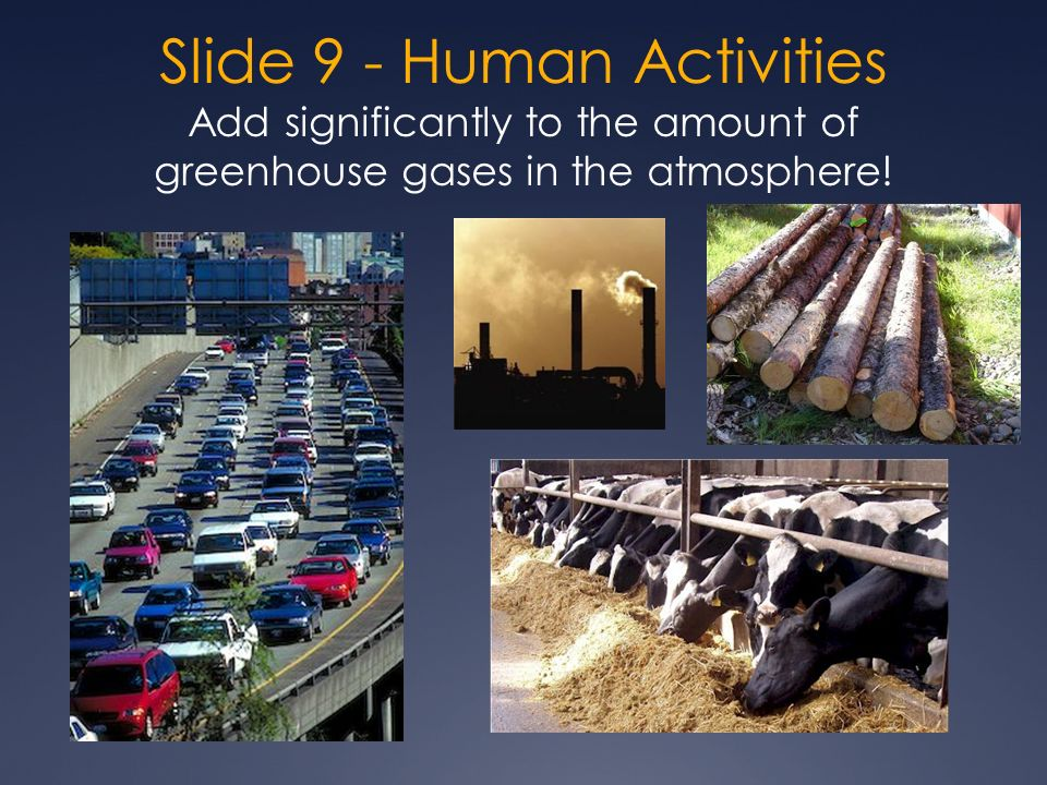 Slide 9 - Human Activities Add significantly to the amount of greenhouse gases in the atmosphere!