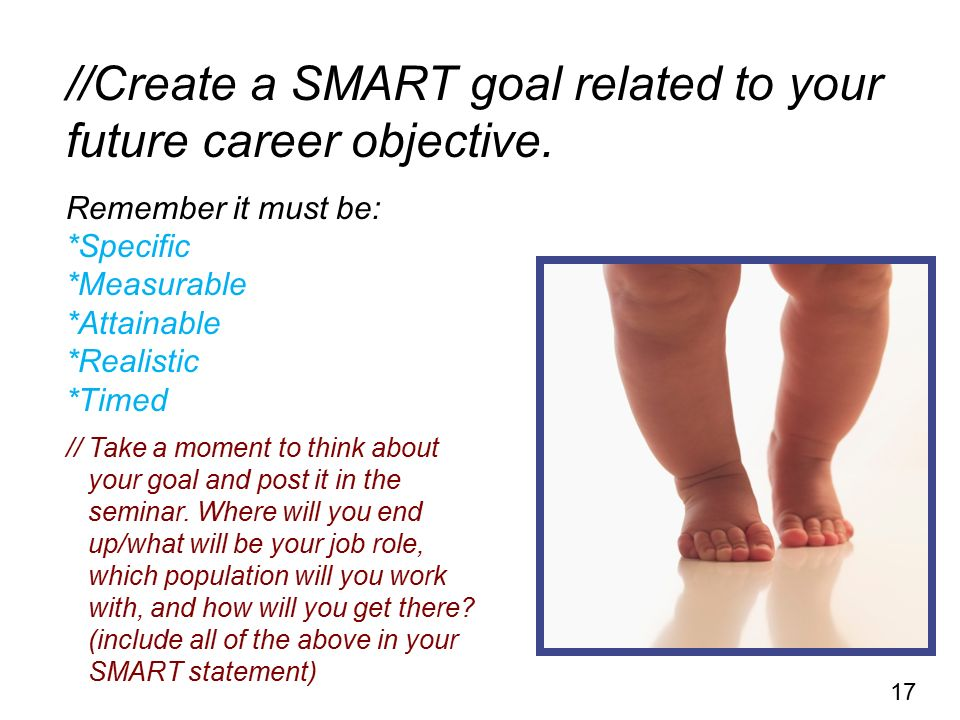 //Create a SMART goal related to your future career objective.