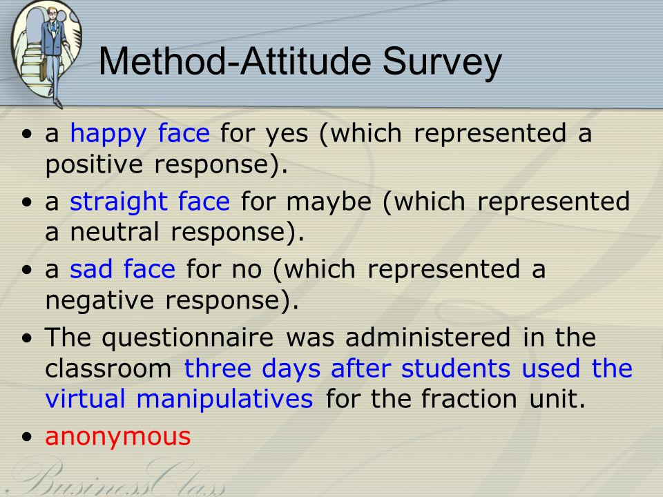 Method-Attitude Survey a happy face for yes (which represented a positive response).