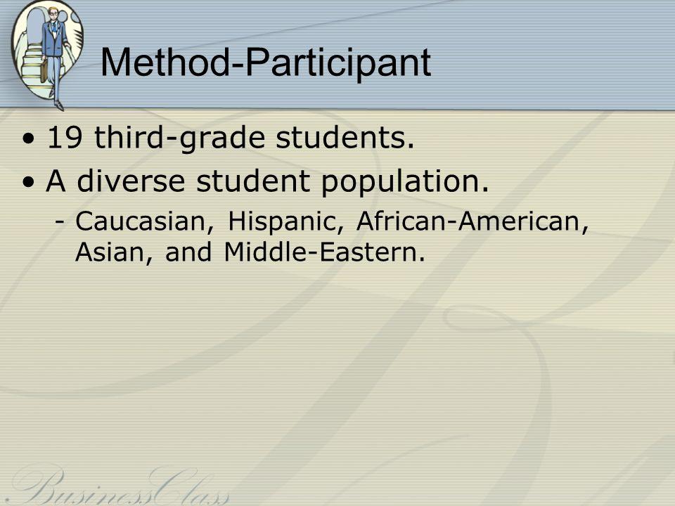 Method-Participant 19 third-grade students. A diverse student population.