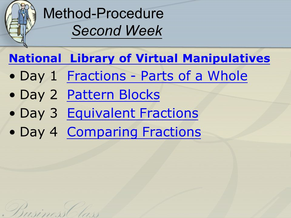 Method-Procedure Second Week National Library of Virtual Manipulatives Day 1 Fractions - Parts of a WholeFractions - Parts of a Whole Day 2 Pattern BlocksPattern Blocks Day 3 Equivalent FractionsEquivalent Fractions Day 4 Comparing FractionsComparing Fractions