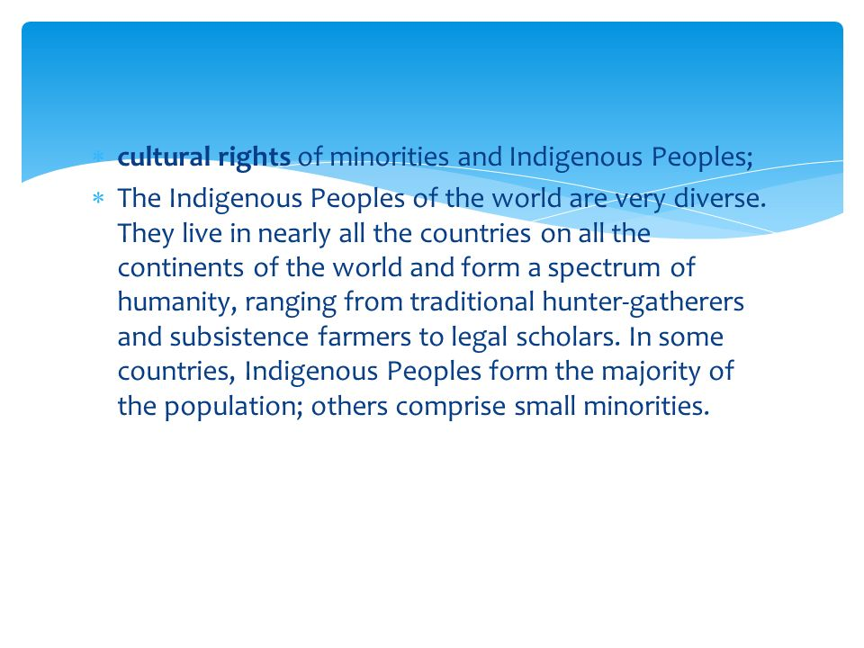  cultural rights of minorities and Indigenous Peoples;  The Indigenous Peoples of the world are very diverse.