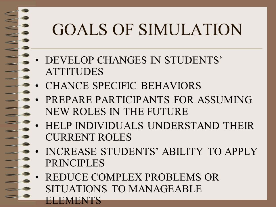 GOALS OF SIMULATION DEVELOP CHANGES IN STUDENTS' ATTITUDES CHANCE SPECIFIC BEHAVIORS PREPARE PARTICIPANTS FOR ASSUMING NEW ROLES IN THE FUTURE HELP INDIVIDUALS UNDERSTAND THEIR CURRENT ROLES INCREASE STUDENTS' ABILITY TO APPLY PRINCIPLES REDUCE COMPLEX PROBLEMS OR SITUATIONS TO MANAGEABLE ELEMENTS