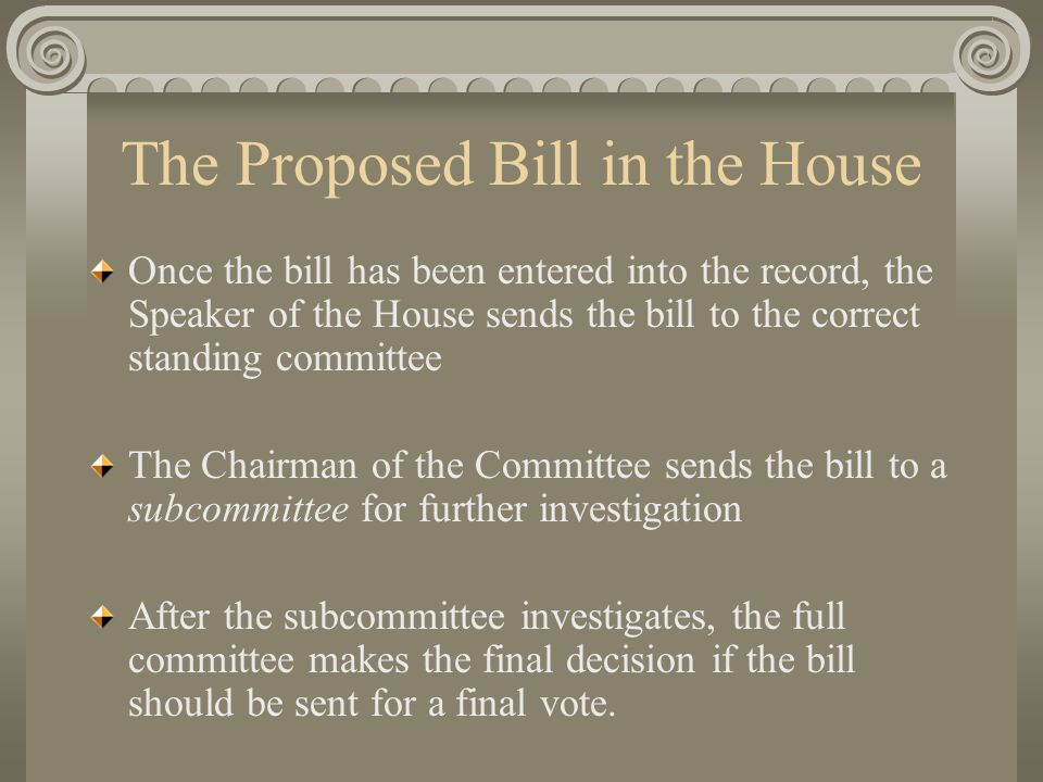 The Proposed Bill in the House Once the bill has been entered into the record, the Speaker of the House sends the bill to the correct standing committee The Chairman of the Committee sends the bill to a subcommittee for further investigation After the subcommittee investigates, the full committee makes the final decision if the bill should be sent for a final vote.