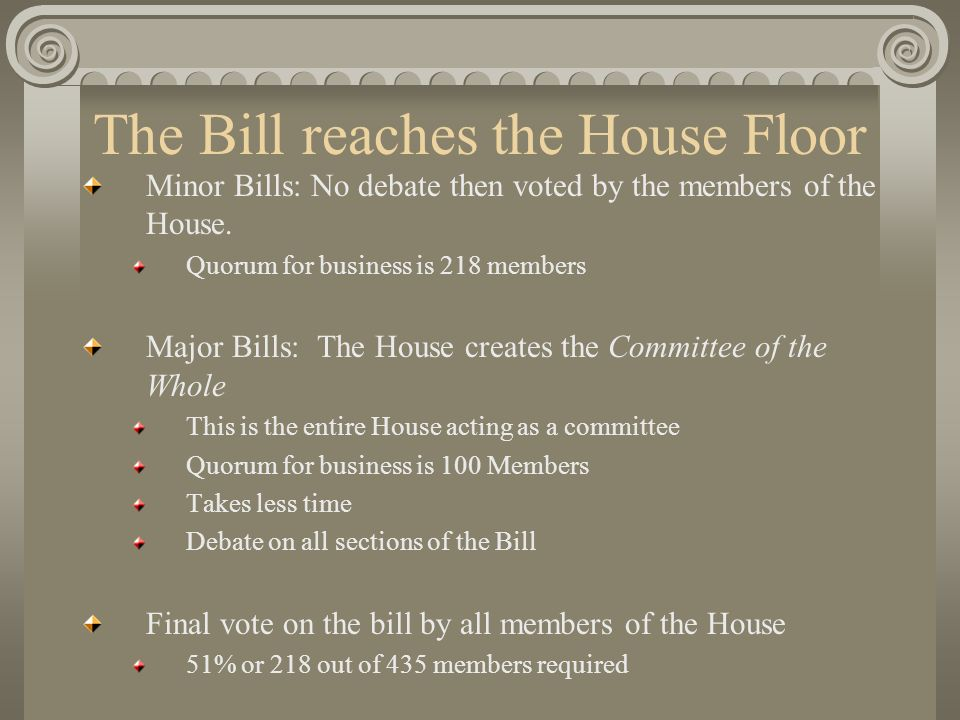 The Bill reaches the House Floor Minor Bills: No debate then voted by the members of the House.