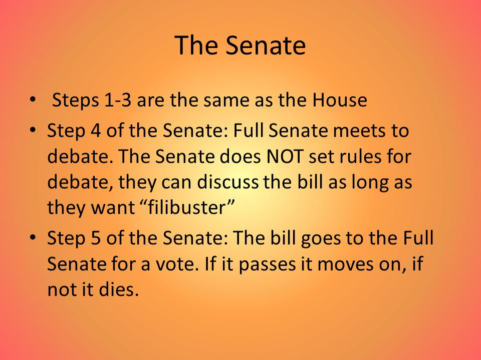 The Senate Steps 1-3 are the same as the House Step 4 of the Senate: Full Senate meets to debate.