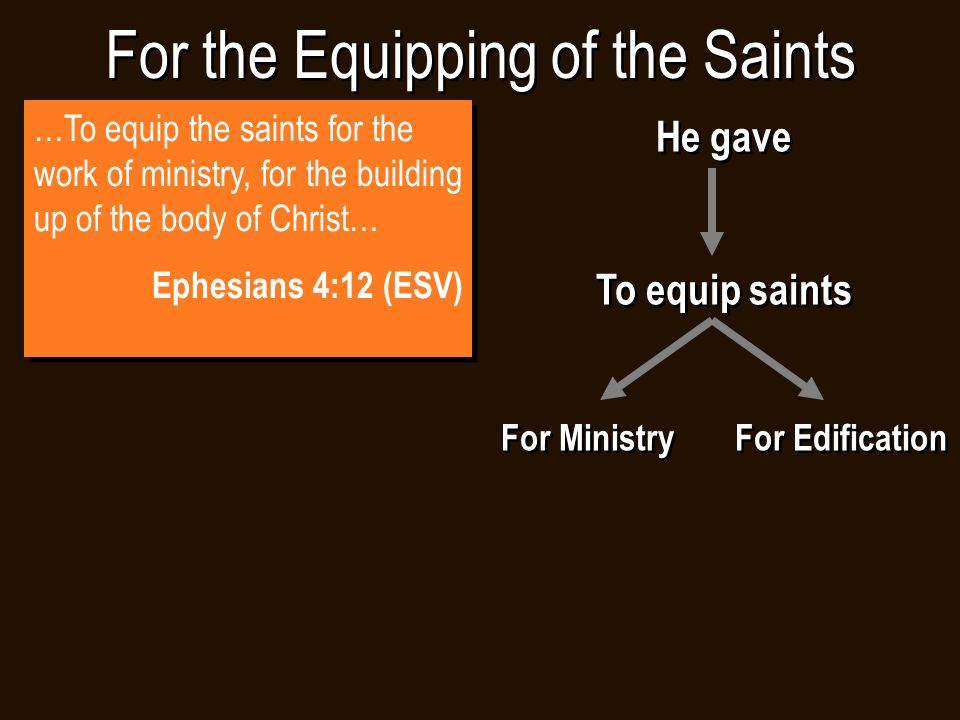 For the Equipping of the Saints He gave To equip saints For Ministry For Edification He gave To equip saints For Ministry For Edification …To equip the saints for the work of ministry, for the building up of the body of Christ… Ephesians 4:12 (ESV) …To equip the saints for the work of ministry, for the building up of the body of Christ… Ephesians 4:12 (ESV)