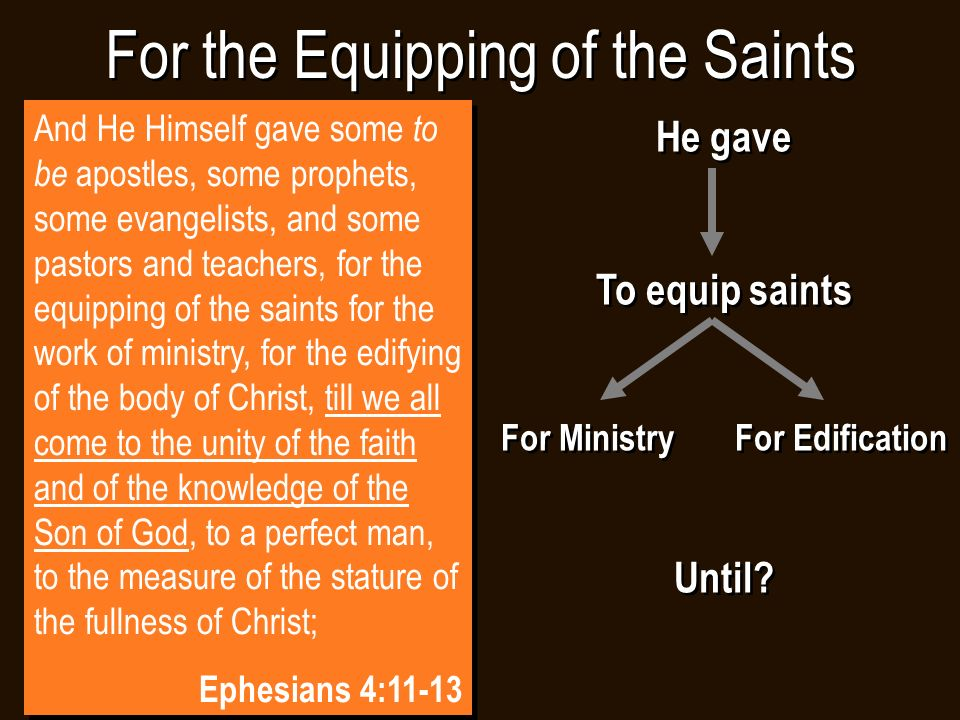 For the Equipping of the Saints He gave To equip saints For Ministry For Edification Until.