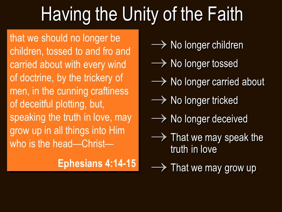that we should no longer be children, tossed to and fro and carried about with every wind of doctrine, by the trickery of men, in the cunning craftiness of deceitful plotting, but, speaking the truth in love, may grow up in all things into Him who is the head—Christ— Ephesians 4:14-15 that we should no longer be children, tossed to and fro and carried about with every wind of doctrine, by the trickery of men, in the cunning craftiness of deceitful plotting, but, speaking the truth in love, may grow up in all things into Him who is the head—Christ— Ephesians 4:14-15 Having the Unity of the Faith  No longer children  No longer tossed  No longer carried about  No longer tricked  No longer deceived  That we may speak the truth in love  That we may grow up  No longer children  No longer tossed  No longer carried about  No longer tricked  No longer deceived  That we may speak the truth in love  That we may grow up
