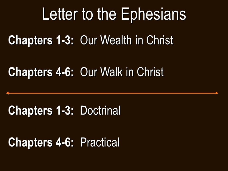 Chapters 1-3: Our Wealth in Christ Chapters 4-6: Our Walk in Christ Chapters 1-3: Our Wealth in Christ Chapters 4-6: Our Walk in Christ Letter to the Ephesians Chapters 1-3: Doctrinal Chapters 4-6: Practical Chapters 1-3: Doctrinal Chapters 4-6: Practical