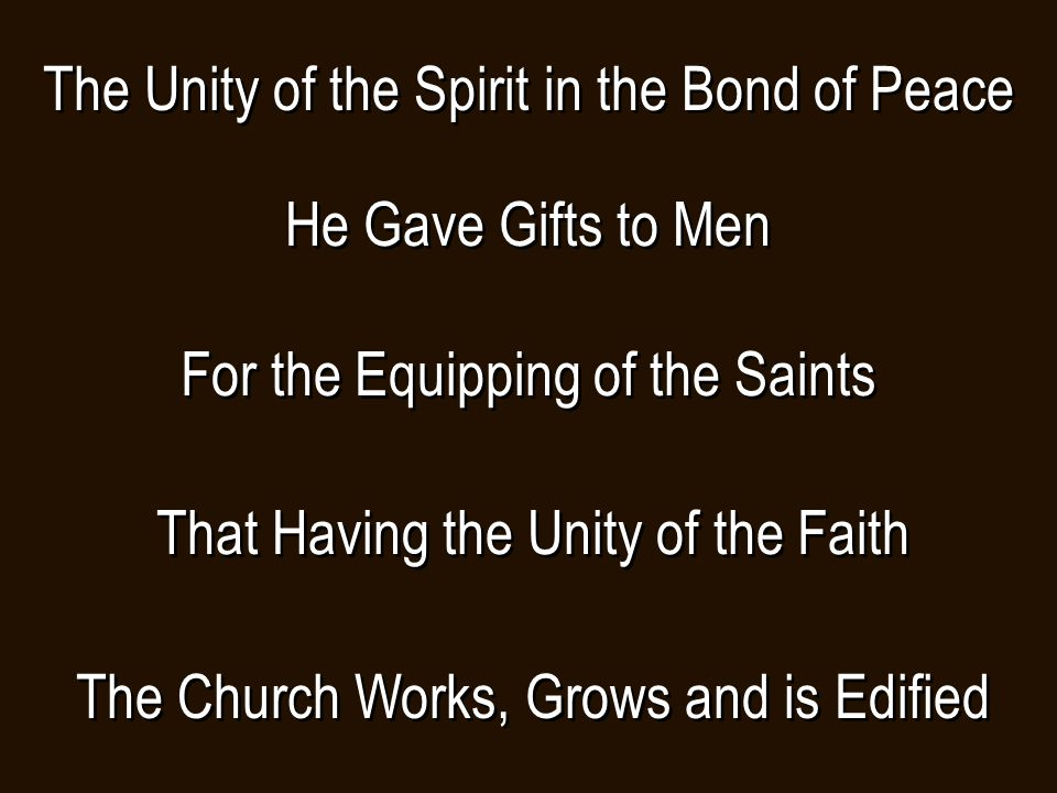 The Unity of the Spirit in the Bond of Peace He Gave Gifts to Men For the Equipping of the Saints That Having the Unity of the Faith The Church Works, Grows and is Edified